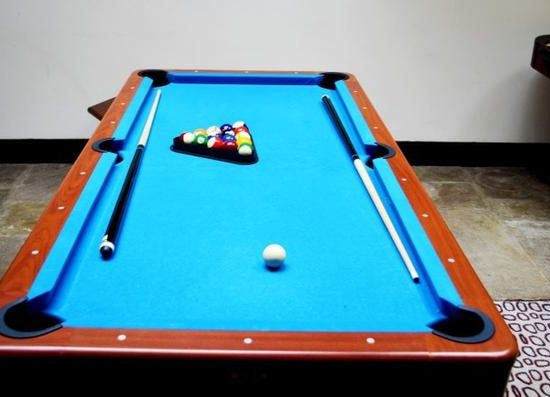 Pool Table And Two Cues With Balls In Triangle On Blue Baize