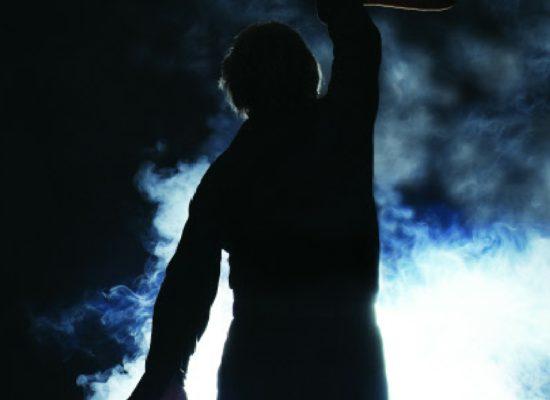 Neil Diamond Tribute Guitar Iconic Silhoutte Against Smoke & Lights