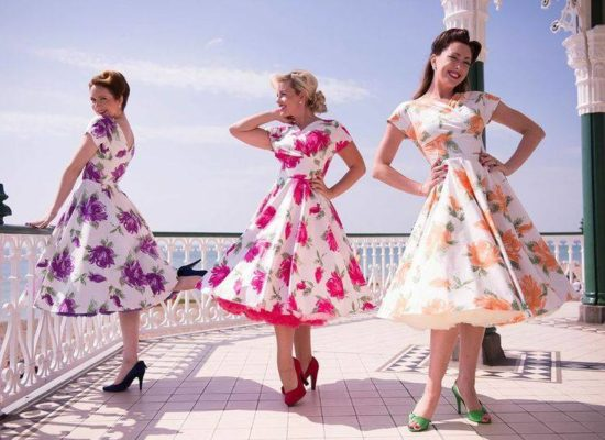 The Spinettes Vintage Trio On Brighton Bandstand In Floral Dresses