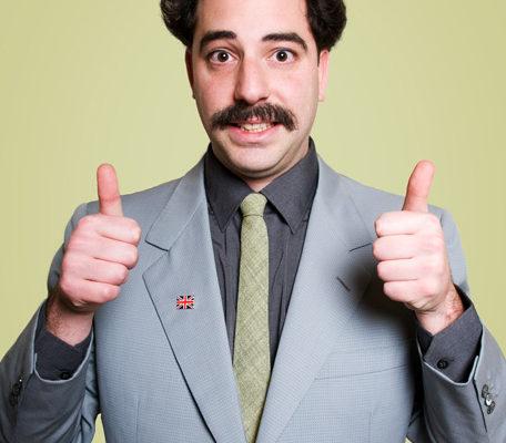 Borat Lookalike Giving Thumbs Up Gesture
