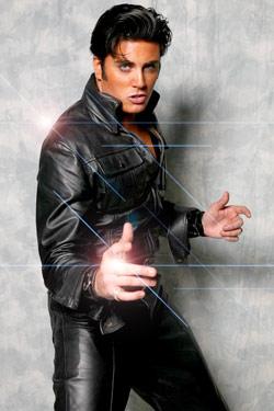 Elvis Prersley Lookalike In Black Leather