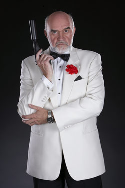 Sean Connery Lookalike James Bond 007 In White Tuxedo With Gun