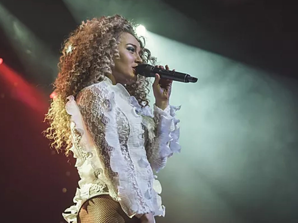 Beyonce Tribute Side On In White Lace Edged Costume