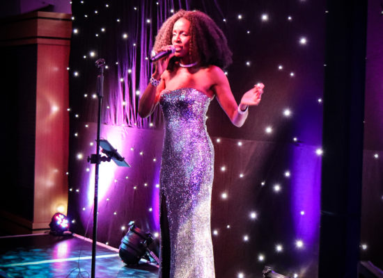Diana Ross Tribute In A Sequinned Silver Gown