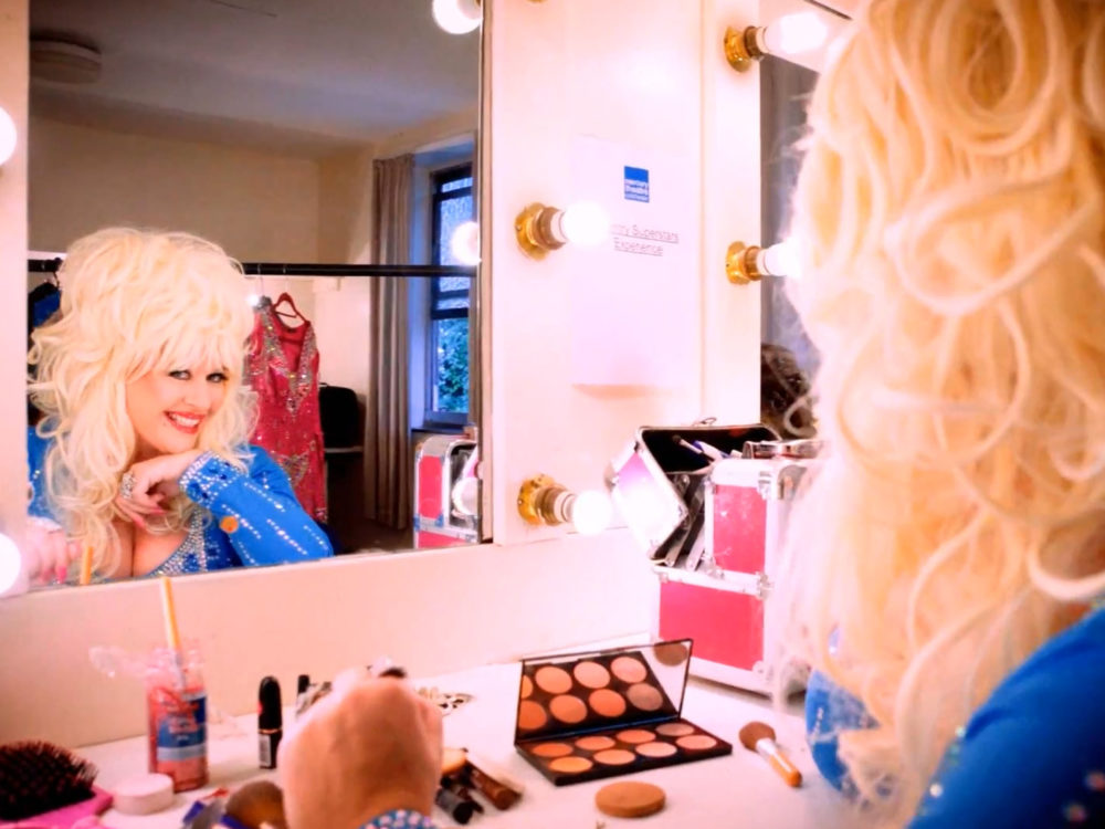 Dolly Parton Tribute In Front Of Mirror