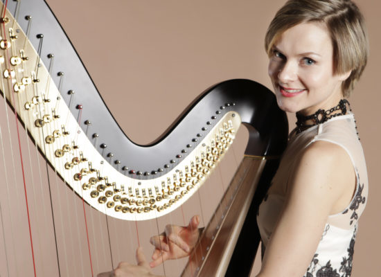Alex Professional Harpist Against A Taupe Background