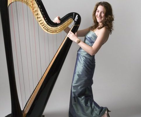 Heather Professional Harpist Posing By Her Harp