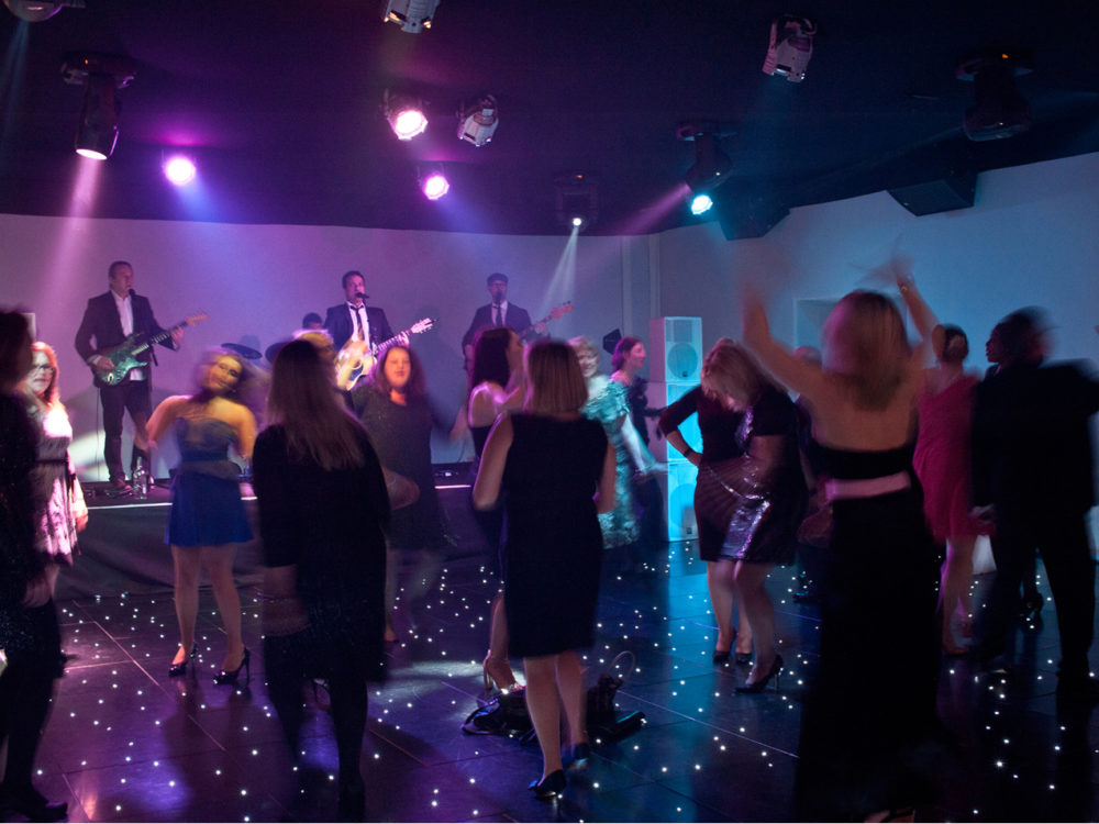 The Dukes Party Band Performing Live At A Wedding With Guests Dancing